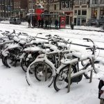 Snow-covered bikes 1